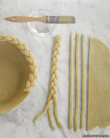 Make a braided edge by cutting 12-inch-long, 1/4-inch-thick strips of dough and braiding them together. Brush the edge of the crust or the bottom of the braids with water; secure. Trim braids equal to circumference.