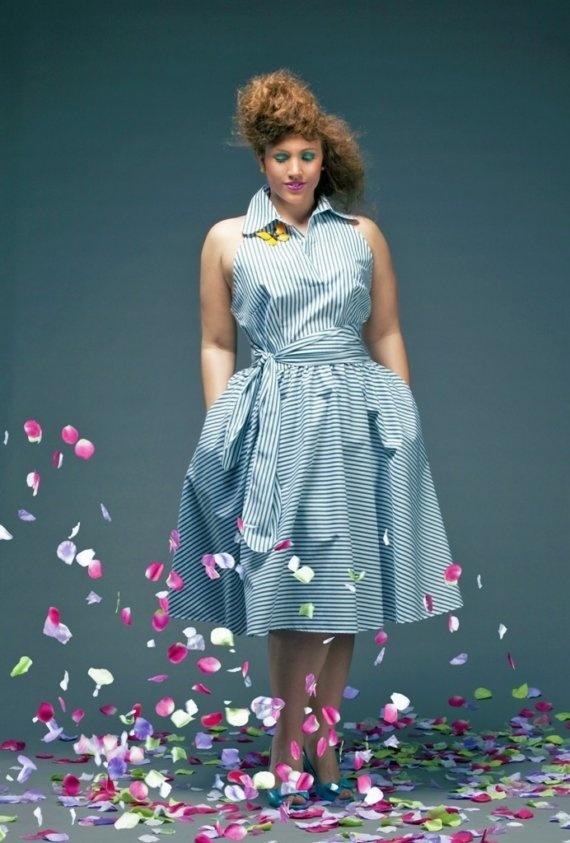 JIBRI Plus Size Cornflower Halter Dress. #FlyFashion #PlusSizeFashion #BoPo #PlusSizeFly