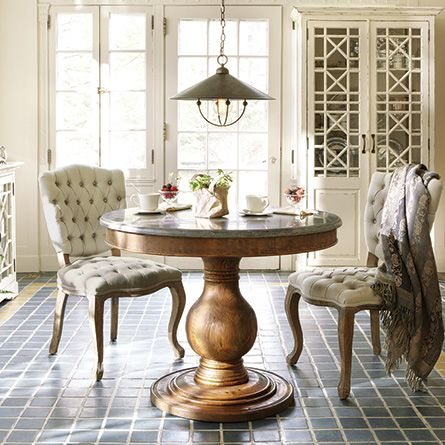 Luca 54 Quot Round Pedestal Dining Table With Bluestone Top In