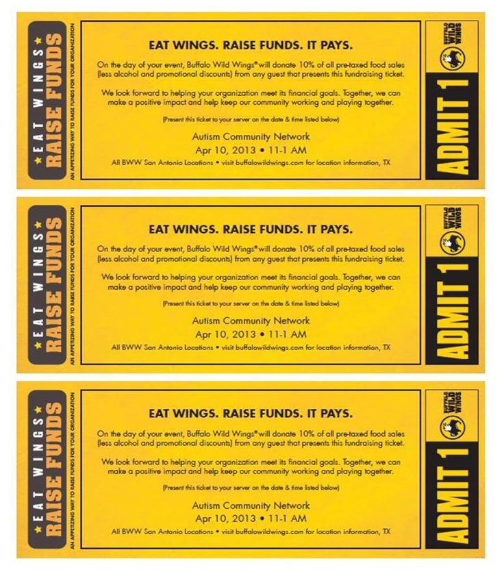 Join us at any Buffalo Wild Wings location all day on April 10! Bring in this flyer and a portion of the food bill will go towards maximizing the potential of children with autism.