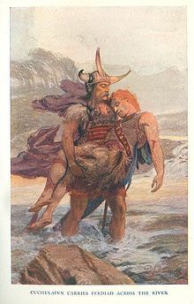 Cuchulainn carries Ferdiad across the river.  While we may suspect a few characters, such as Medb or Cú Roí, of once being deities, and Cú Chulainn in particular displays superhuman prowess, the characters are mortal and associated with a specific time and place. If the Mythological Cycle represents a Golden Age, the Ulster Cycle is Ireland's Heroic Age.