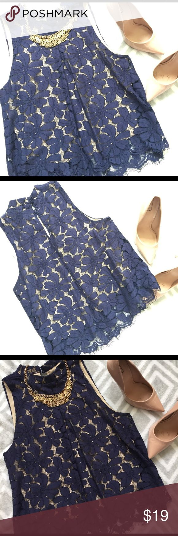 *NWOT* Sleeveless Navy Blouse Floral Lace Sleeveless Navy Blouse Floral Lace with Nude Underlay/Lining. Cotton Nylon Rayon Blend with Poly lining. I think this color always looks so pretty with these blush stilettos! Tops Blouses