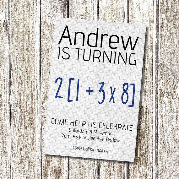 Math Equation 50th Birthday Party Invitation by deedubdesigns