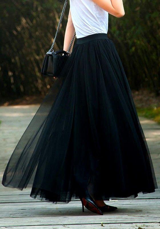 9401656aa7b620 Jupe longue plissé taille élastique tutu en tulle mode femme noir ...