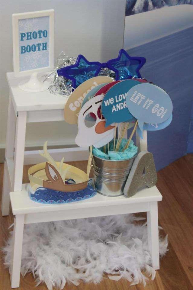 Photo booth at a Frozen birthday party! See more party planning ideas at CatchMyParty.com!