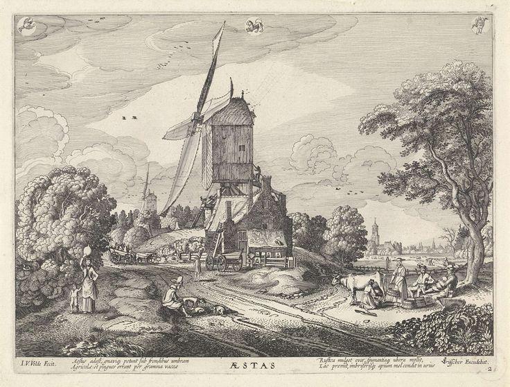 Jan van de Velde (II) | Zomer (Aestas), met sterrenbeelden, Jan van de Velde (II), Claes Jansz. Visscher (II), 1617 | Gezicht op een molen in een landschap met vele figuren. Op de voorgrond een zittende man met honden en rechts melkende vrouwen. Links een vrouw met een kruik op het hoofd en een kind. In de lucht de drie sterrenbeelden: kreeft (links), stier (midden) en maagd (rechts). Verbeelding van het jaargetijde zomer, tweede prent van een serie van vier.