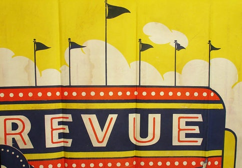 vivid yellow 1940's carnival poster revue sideshow by outdated