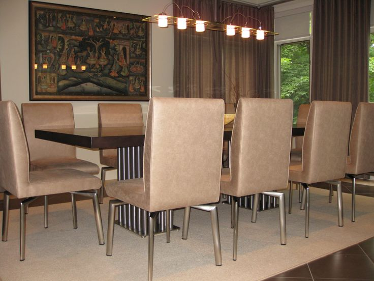 Custom made leather dining chairs.