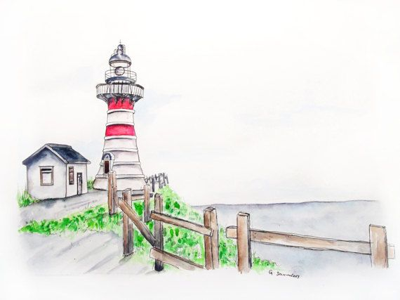 ORIGINAL 'Lighthouse on the Hill' Watercolour Landscape Illustration Painting by Guinevere Saunders SIGNED