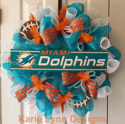 Miami Dolphins Wreath by KarieLynnDesigns on Etsy, $59.95