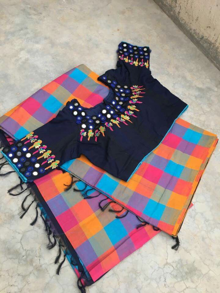Multicolored with black blouse