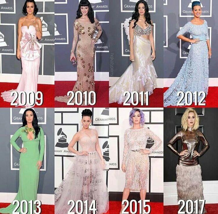 Vestidos usados por Katy Perry em cada edição do Grammy que ela compareceu.