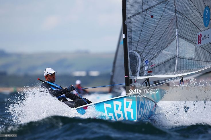 Ben Ainslie of Great Britain competes in the Men's Finn Sailing on Day 3 of the London 2012 Olympic Games at Weymouth Harbour on July 30, 2012 in Weymouth, England.