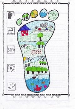 This worksheet has the student draw in his own representation of how his own footprint would look.  I would suggest showing them a few examples from the internet to show how differently artists have represented the ecological footprint.  What is different about this activity is that they are to draw a representation of their OWN footprint.