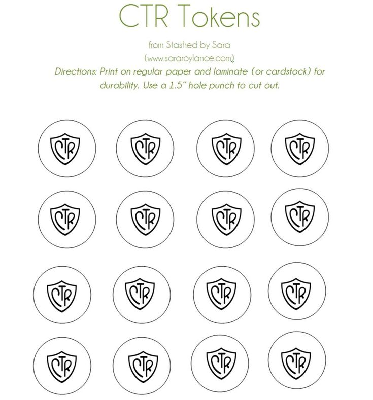 CTR Tokens to help with reverence in Primary