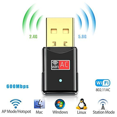600Mbps USB WiFi Adapter Dongle Wireless Network Card For Laptop PC w// Antenna