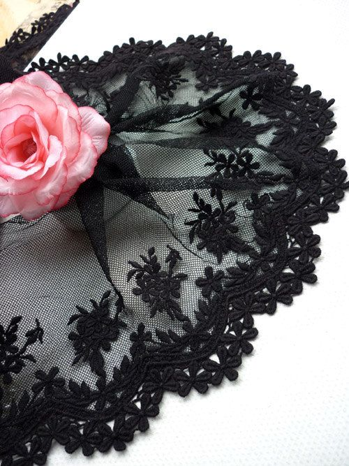 Black Lace Fabric Trim Embroidered Mesh Lace Floral by lacetime