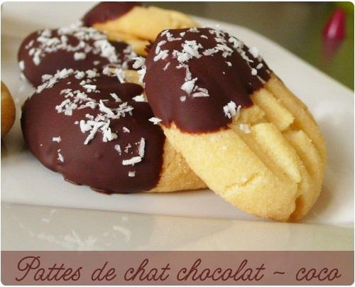 "Biscuits ""Patte de chat"" chocolat coco"
