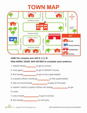 Here's a fun exercise with directions, north, south, east and west! Mail carrier must know where and how to deliver the mail. Easy fun map for beginning map skills.