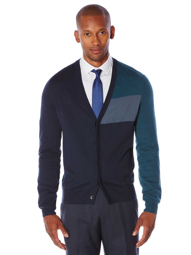 #FashionVault #perry ellis #Men #Tops - Check this : Perry Ellis Colorblock Cardigan Sweater for $79.5 USD