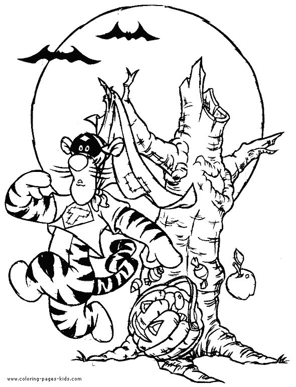 the pooh halloween coloring pages - photo#17