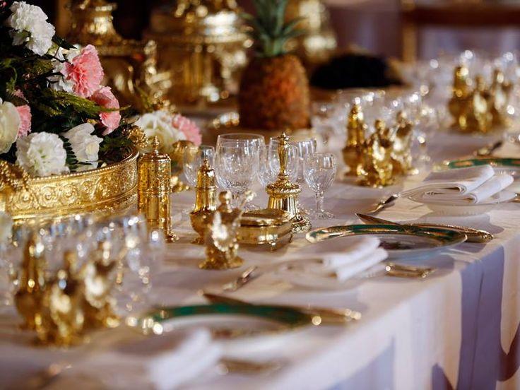 Coronation State Banquet display. Buckingham Palace ...