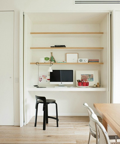 Inside kids cupboards - Study nook via Shareen Joel Design