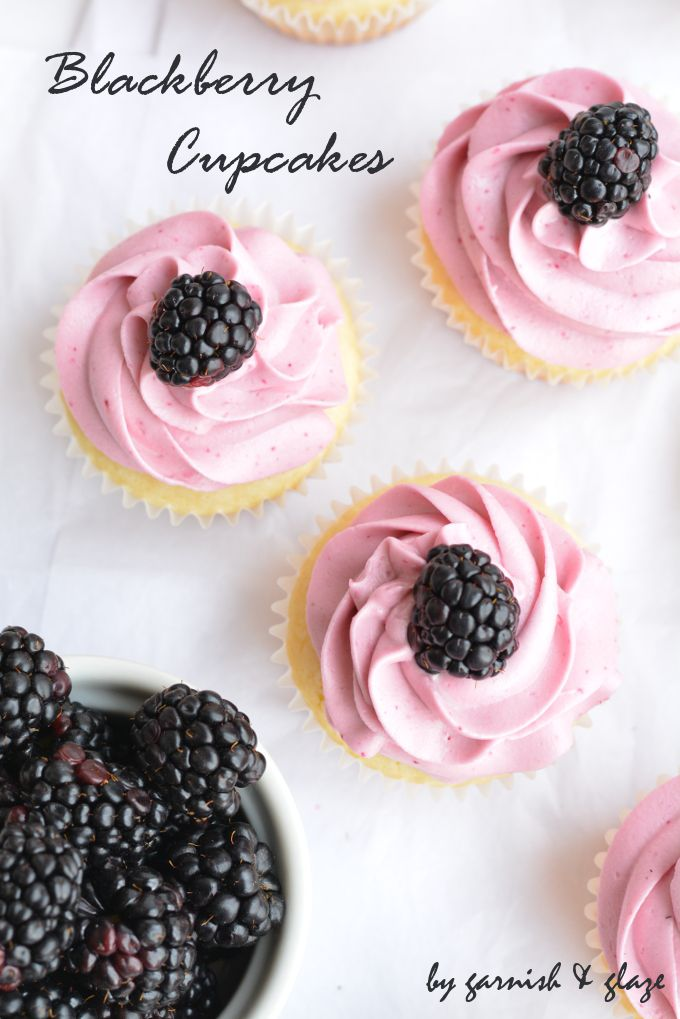Blackberry Cupcakes- Vanilla cake topped with smooth blackberry cream cheese frosting.