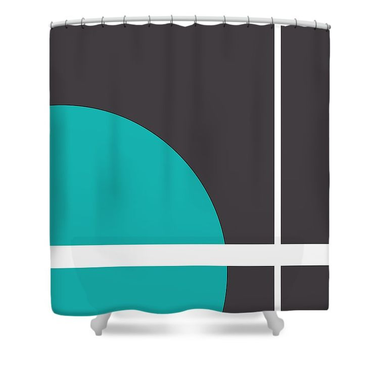 """Turquoise Shower Curtain by Muge Basak.  This shower curtain is made from 100% polyester fabric and includes 12 holes at the top of the curtain for simple hanging.  The total dimensions of the shower curtain are 71"""" wide x 74"""" tall."""