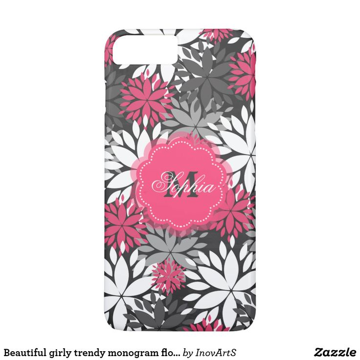 Beautiful girly trendy monogram floral pattern iPhone 8 plus/7 plus case. Beautiful girly trendy #monogram #floral illustration pattern, dark and light grey shades, white, hot pink colours, dark grey chalk board effects background, unique, vibrant pink, happy, hipster, popular, cute, modern, pretty, fashion, awesome, cool, love, loveable, glam, feminine, vintage image. #iphonecases #girlyiphonecases