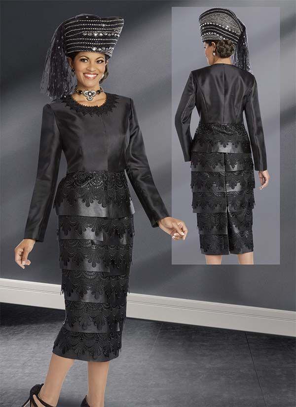 Donna Vinci 11608 Elaborate Guipure Lace Design Skirt Suit With Leatherette Trims