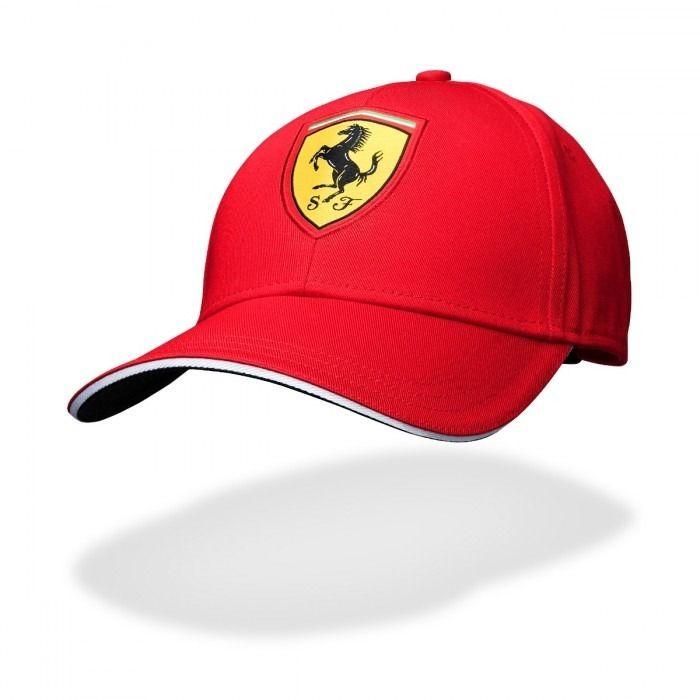 Cappello da baseball rosso con logo classico Ferrari F1