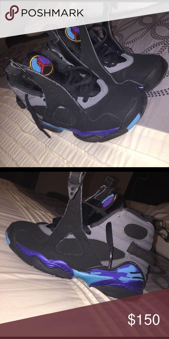 Jordan Aqua 8's Good Condition - 9/10 - Worn A Few Times - NO TRADES 🚫 Make Offers ❗️SIZE 4.5 BOYS ‼️‼️ Jordan Shoes Sneakers