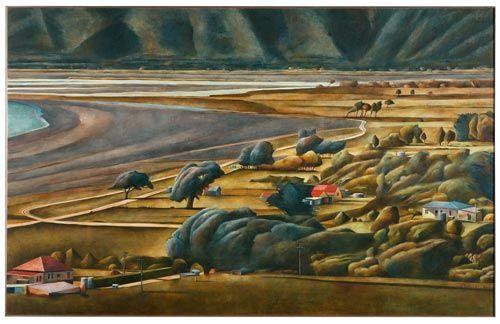 maraenui marae - Oil painting by Stanley Palmer