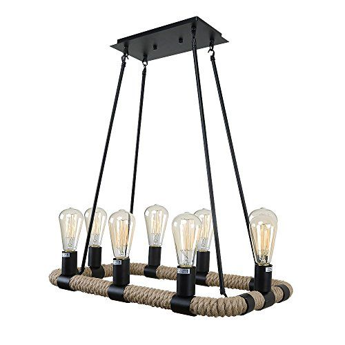 LNC Rustic Rope Chandelier for Kitchen Island Living Room Dining Room Restaurant 8light with Black Finish ** Want to know more, click on the image.