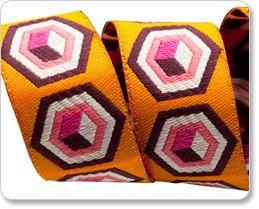 "TULA PINK 7/8"" ribbon--Pink on Orange Hex Box--price is per yard on Etsy, $4.00"