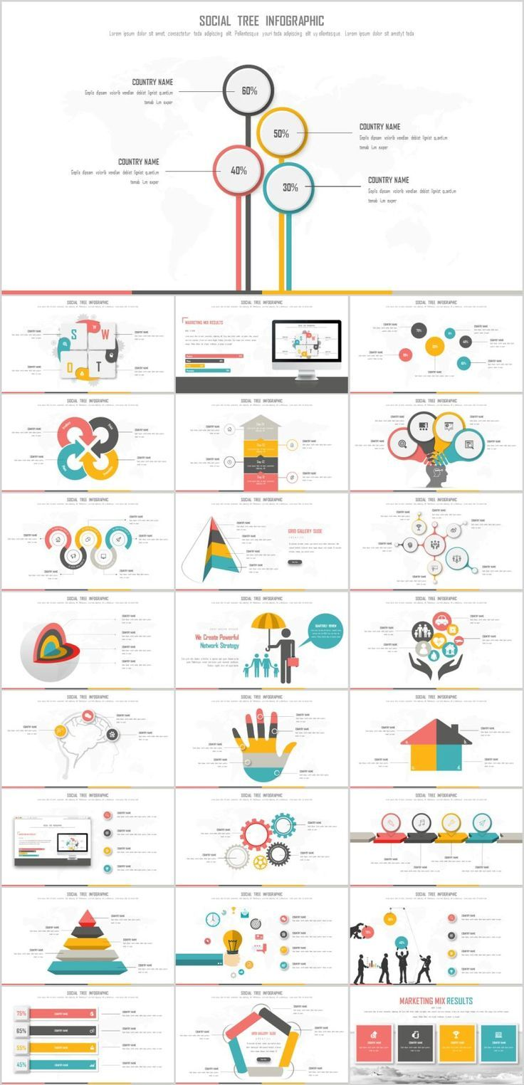 Business infographic : 25+ Best Social Tree Infotraphic PowerPoint