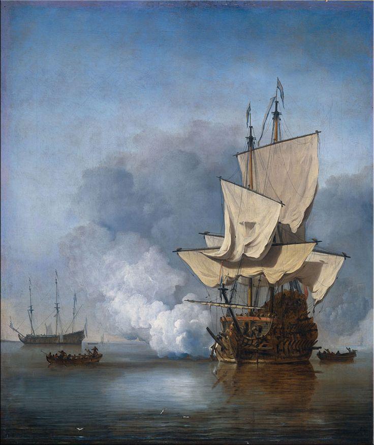 """""""Het kanonschot"""" VOC schepen reproductie Willem van de Velde"""