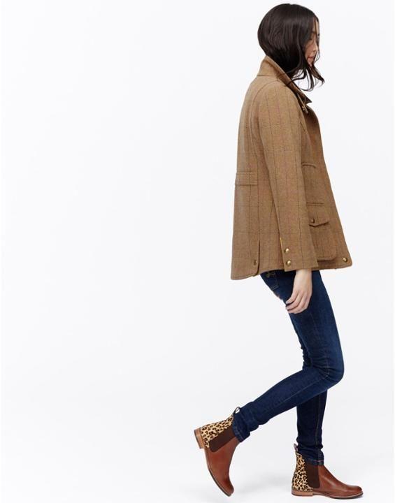 Cropston Tweed Fieldcoat Semi Fitted Tweed Coat | Joules UK