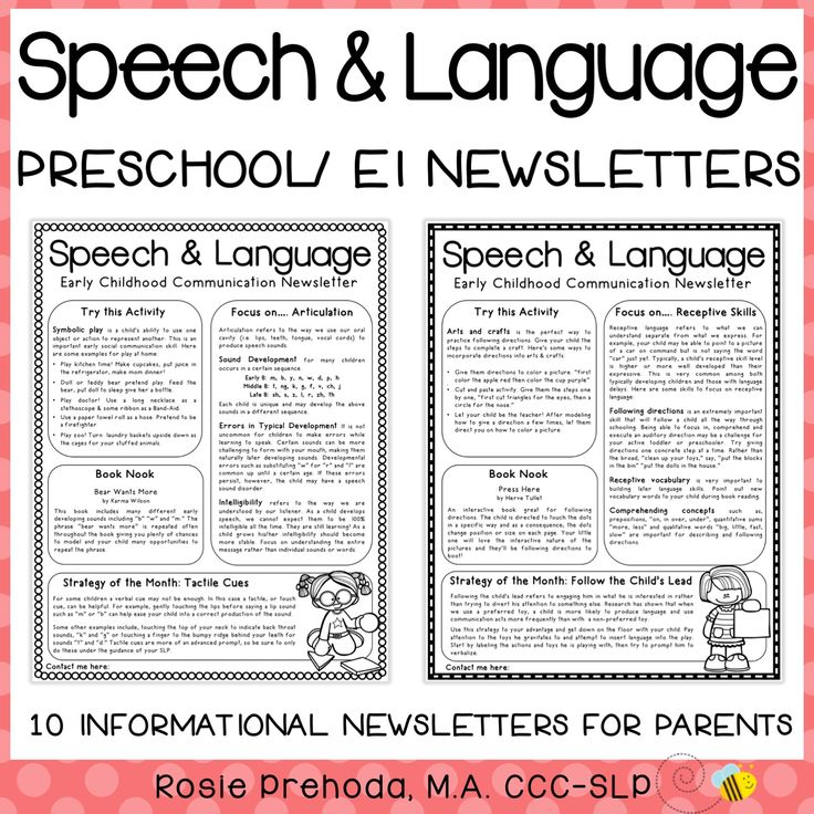EI & Preschool Monthly Speech Newsletter for Parents ...