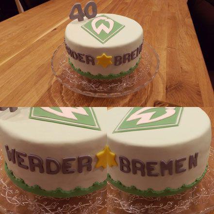 Geburtstagstorte zum 40.  Werder Bremen  Saftbiskuit  Frischkäse-Quark-Creme mit Himbeeren