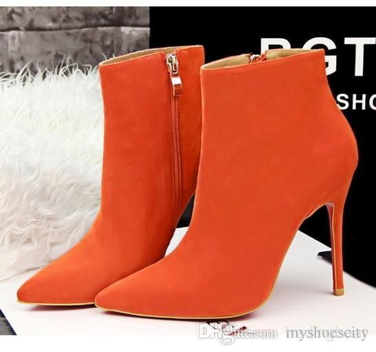 Multi Colors Orange Pointed High Heel Suede Boots Fashion Ankle Boots For Women Pumps Shoes Size 34 To 38 Rain Boots For Women Wedge Booties From Myshoescity, $31.68| Dhgate.Com