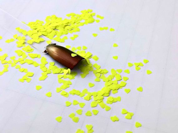 neon yellow heart glitter   solvent resistant by CanadianDestash, $2.50