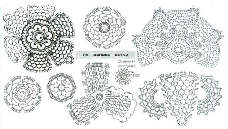 diagram 43Irish Crochet, Crochet Motif, Crochet Irish, Crochet Irlandais, Crochet Crafts, Irish Lace, Crochet Patterns, Iers Haken, Crochet Flowers Leaves