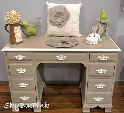 Desk redo.  I have one of these I want to paint for my stepbrother.  I think I'll do red with apple green handles and edges.