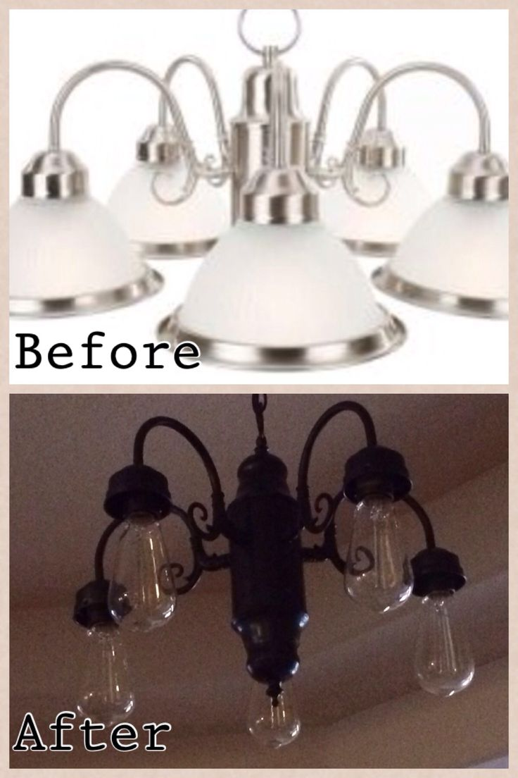 DIY lighting update-  All you need is a can of spray paint.  This was our kitchen light fixture that was over our table.  My husband spray painted it, removed the glass shades, and added Edison bulbs.  It is now our entry chandelier!