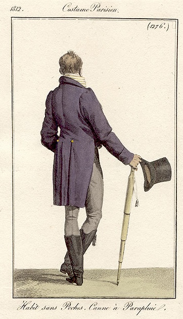 This gentleman comes armed with an umbrella. Costume parisien, 1812