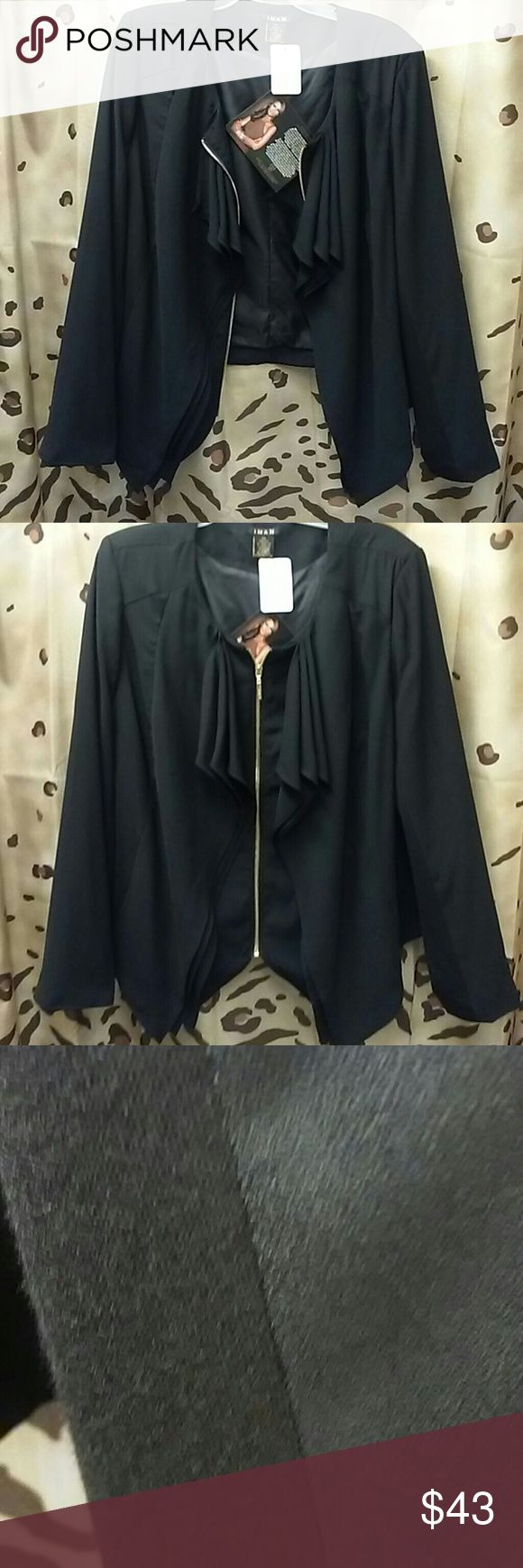 Iman ruffle front waist length jacket zip up Has differentiating material on sides of sleeves and body of jacket pic 3 Size 2xl Material posted Gold zip up Lined $ 69.95 nwt Machine wash Zip ruffle front iman Jackets & Coats Blazers