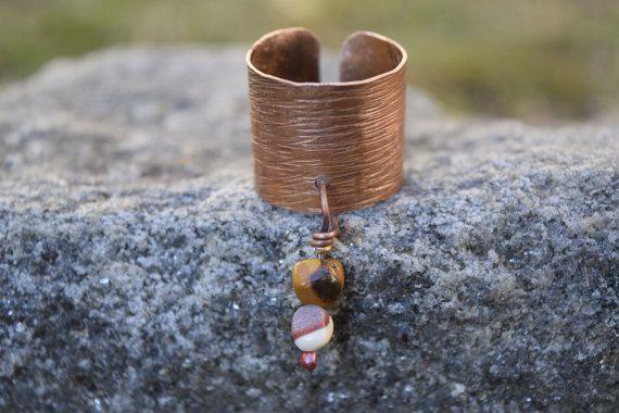 Anello regolabile rame e pietre dure mokaite, anello donna, anello rame, regalo per lei, pezzo unico, soleluna
