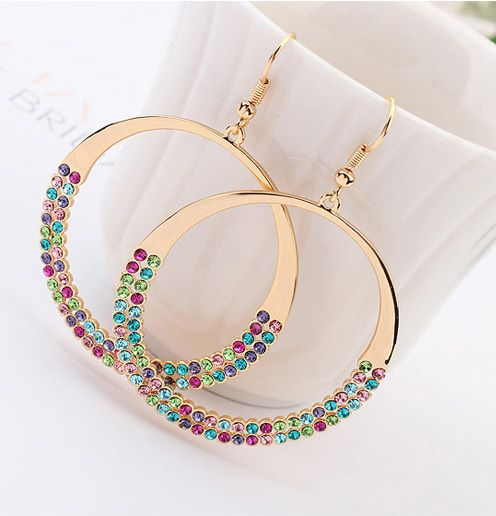 Trendy Swa crystal hoop  Earrings for women earrings for girl jewelry brincos de festa brincos boucle d'oreille